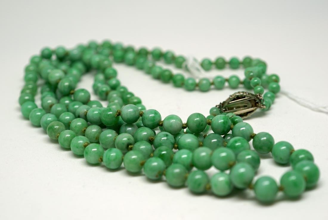 A Chinese Jadeite Double Strand Necklace - 5
