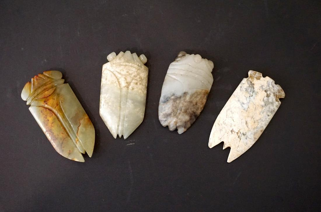 A Group of Four Chinese Jade Cicadas