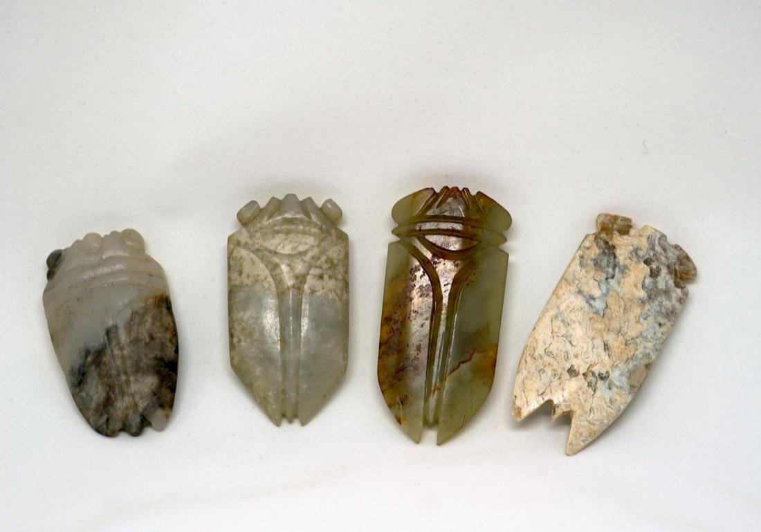 A Group of Four Chinese Jade Cicadas - 2