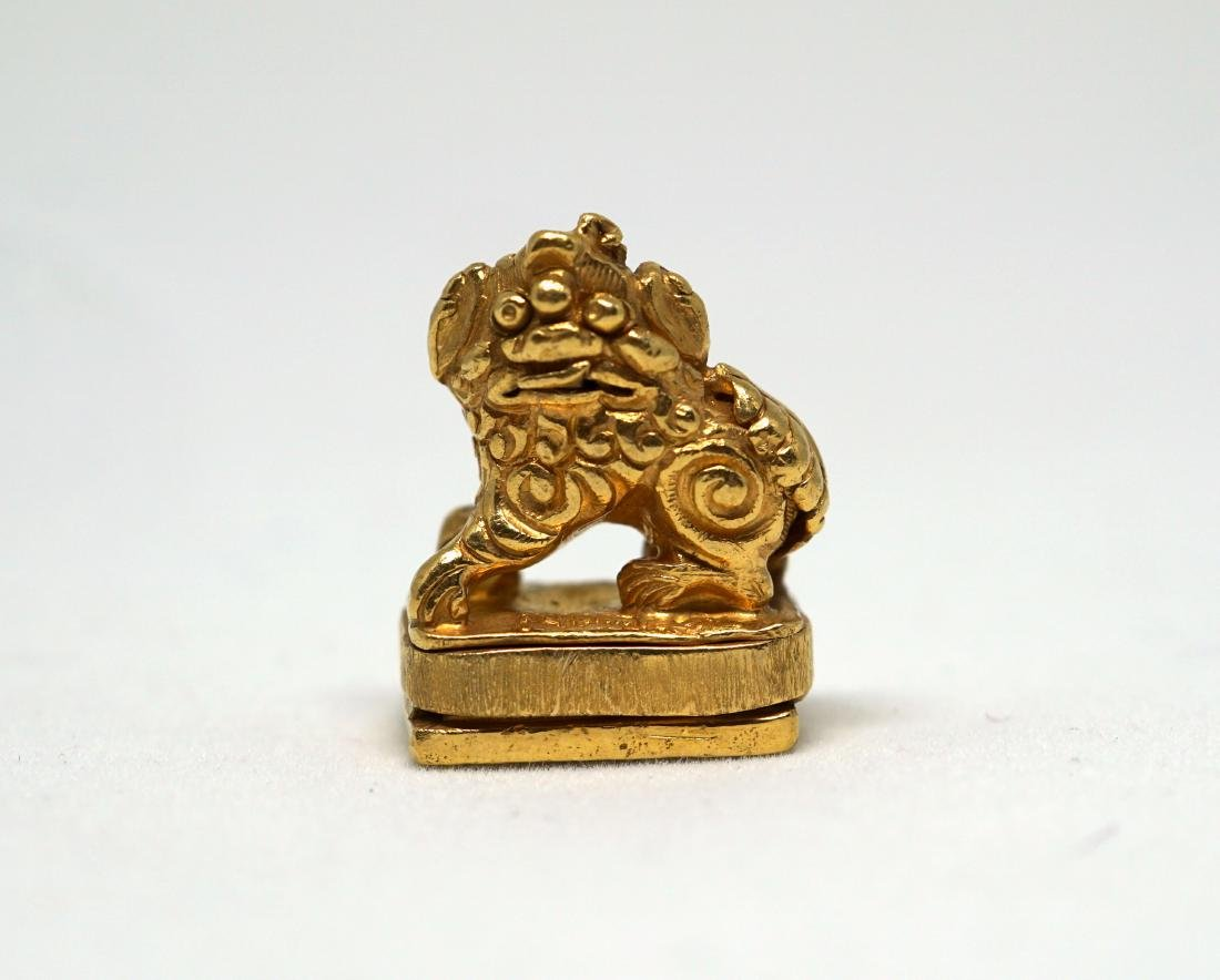A Solid 22K Golden Lion Seal