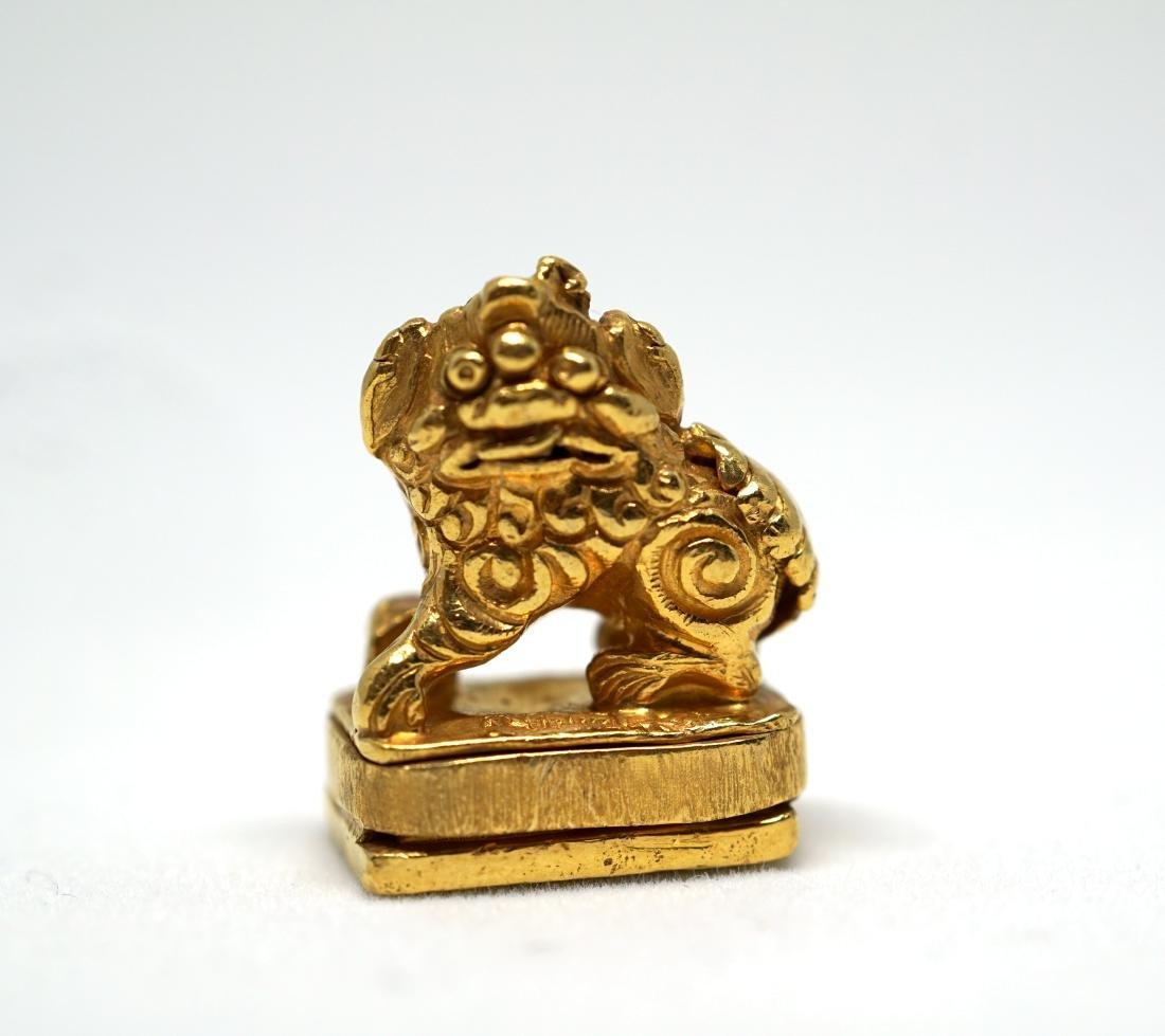 A Solid 22K Golden Lion Seal - 7