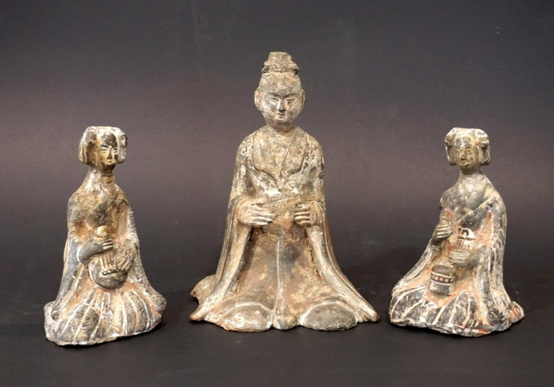 Group of Three Chinese Earthenware Attendants