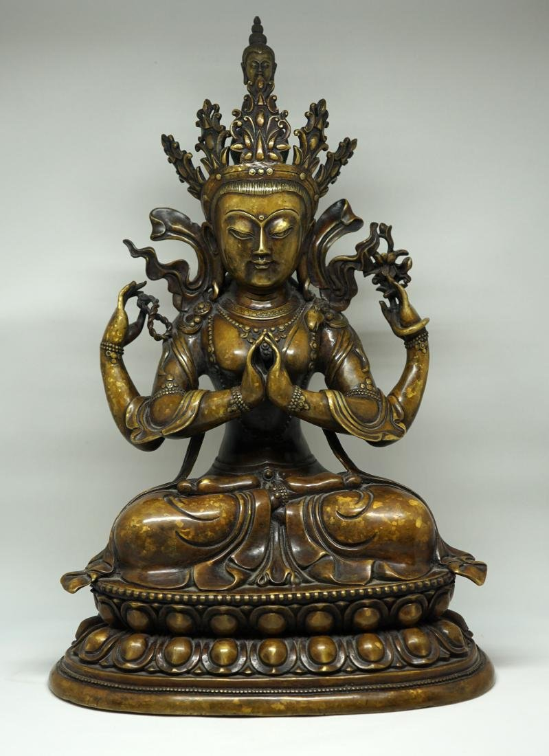 A Large Tibetan Bronze Figure of Shadakshari
