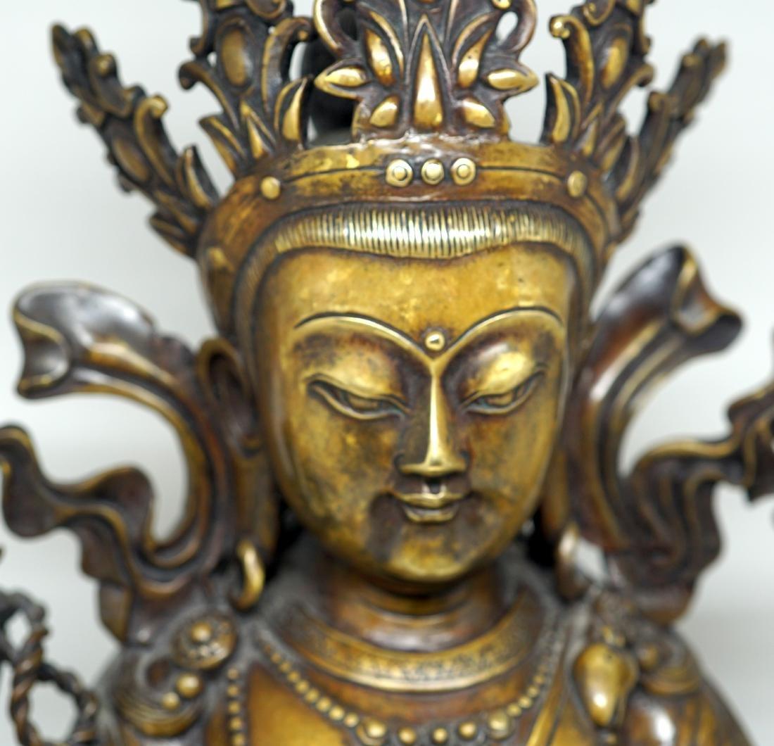 A Large Tibetan Bronze Figure of Shadakshari - 2