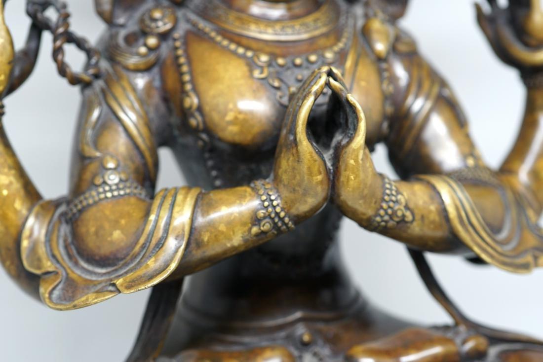 A Large Tibetan Bronze Figure of Shadakshari - 3