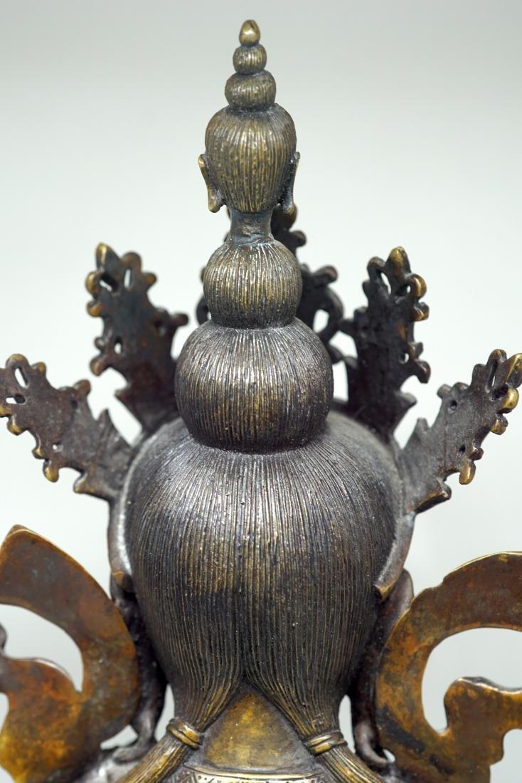 A Large Tibetan Bronze Figure of Shadakshari - 5