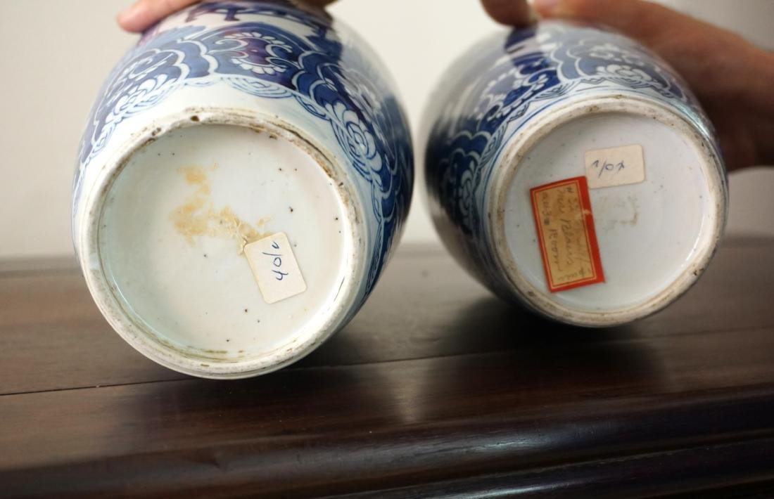 A Pair of Kangxi Period  Export Blue and White Jars - 8