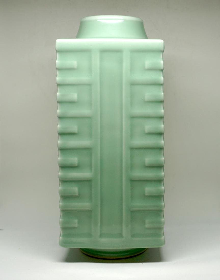 A Fine Celadon-Glazed Cong Form Vase