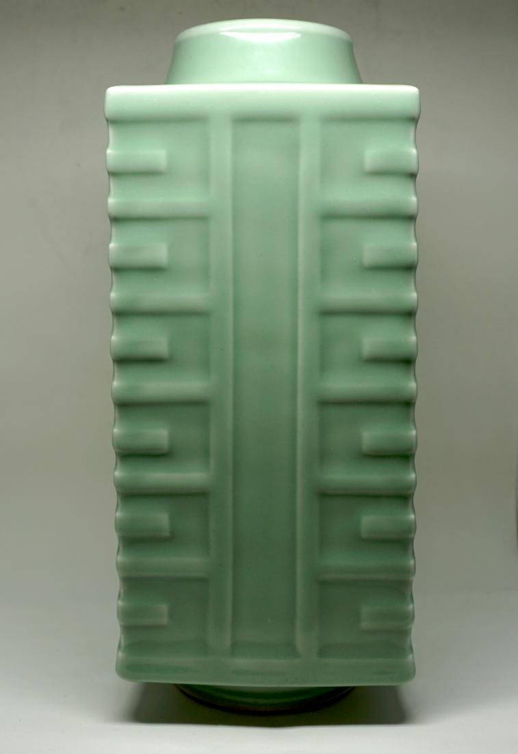 A Fine Celadon-Glazed Cong Form Vase - 2