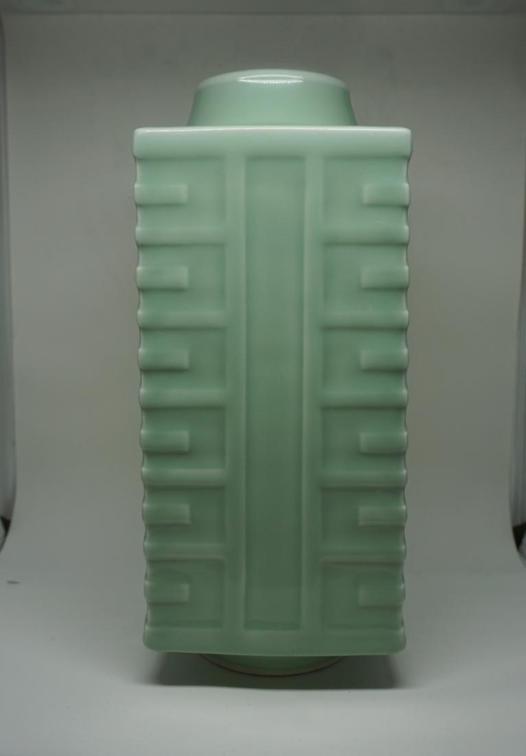 A Fine Celadon-Glazed Cong Form Vase - 3