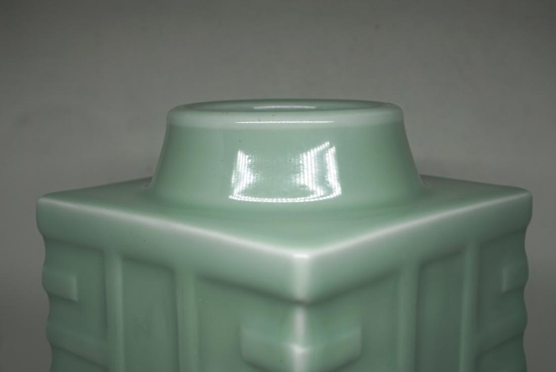 A Fine Celadon-Glazed Cong Form Vase - 4