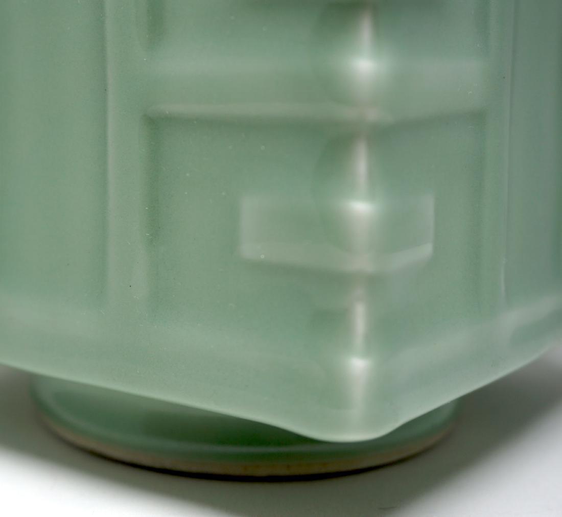 A Fine Celadon-Glazed Cong Form Vase - 5