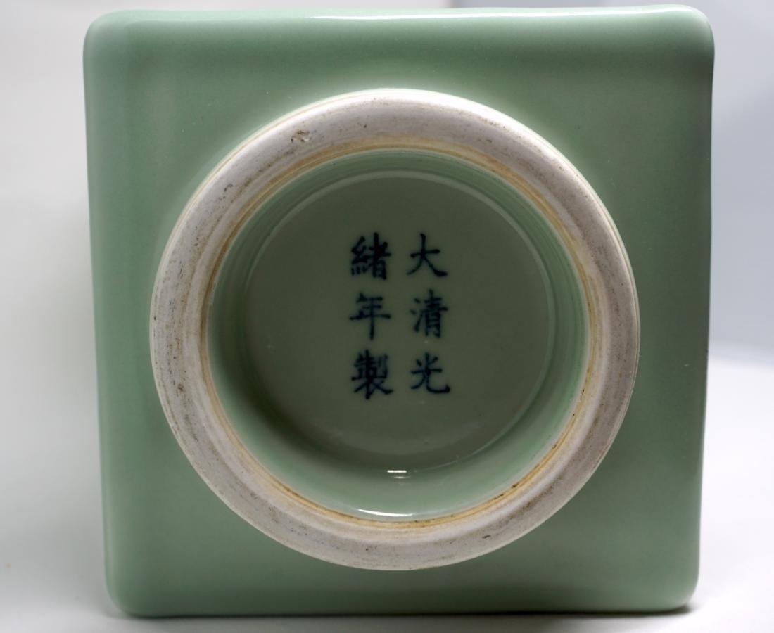 A Fine Celadon-Glazed Cong Form Vase - 6