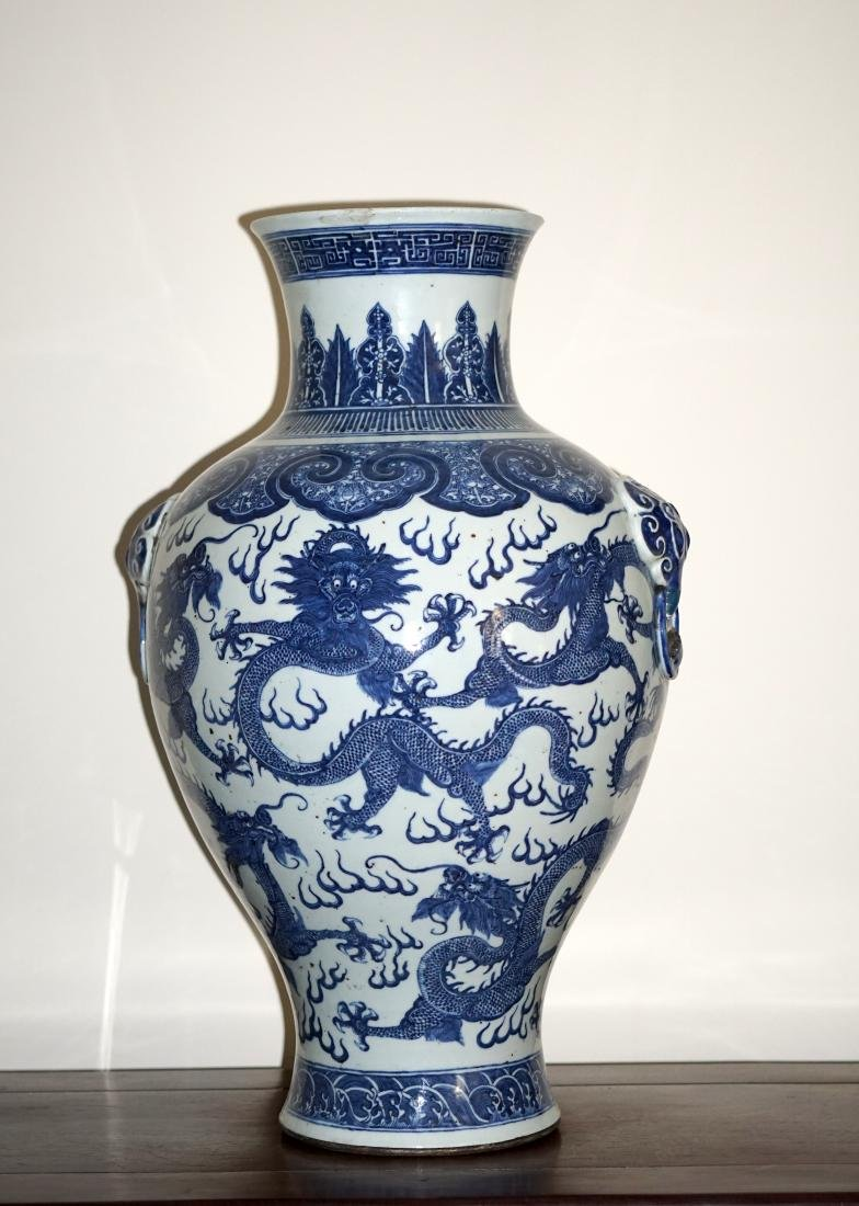A Large Chinese Blue and Withe Dragon Vase