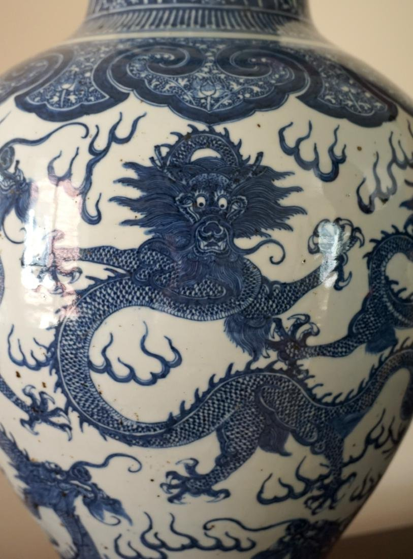 A Large Chinese Blue and Withe Dragon Vase - 7