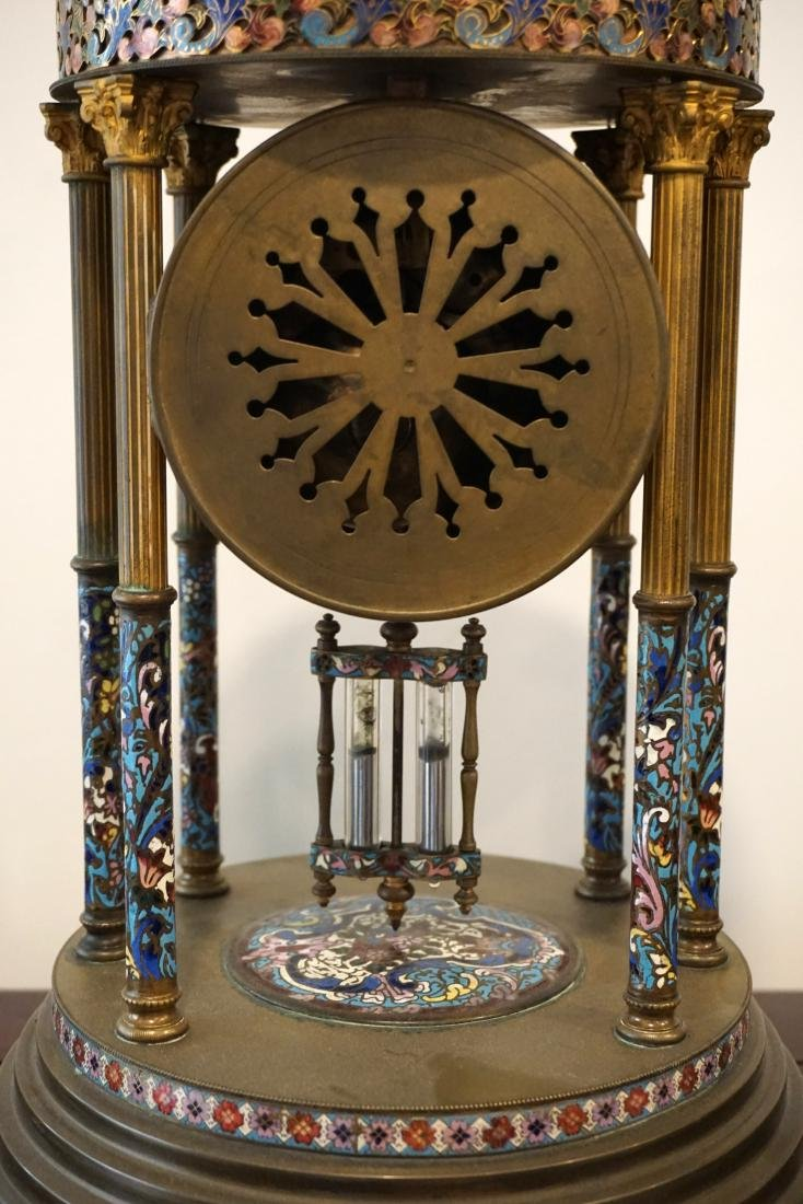A LargeFrench Cloisonné Clock with Two Candle Holders - 2