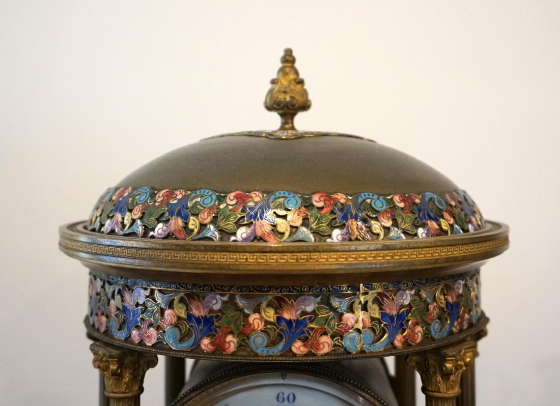 A LargeFrench Cloisonné Clock with Two Candle Holders - 6