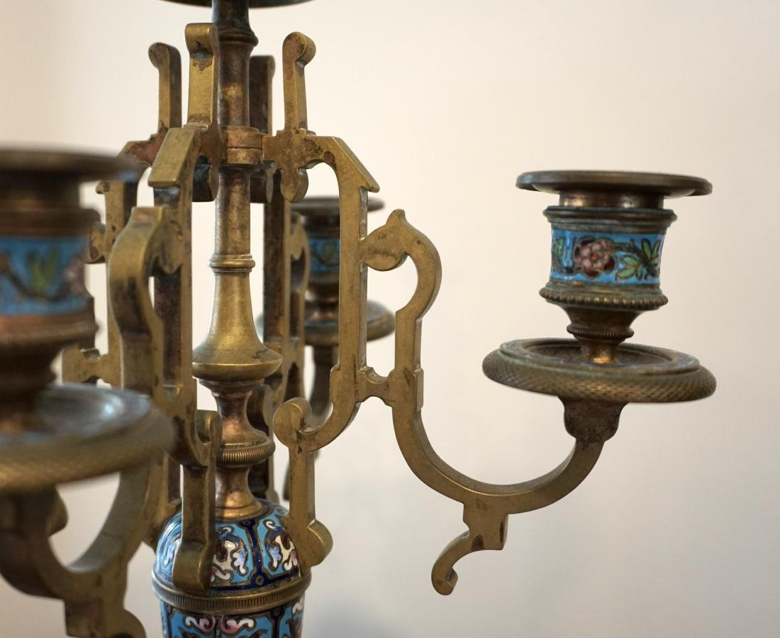 A LargeFrench Cloisonné Clock with Two Candle Holders - 7
