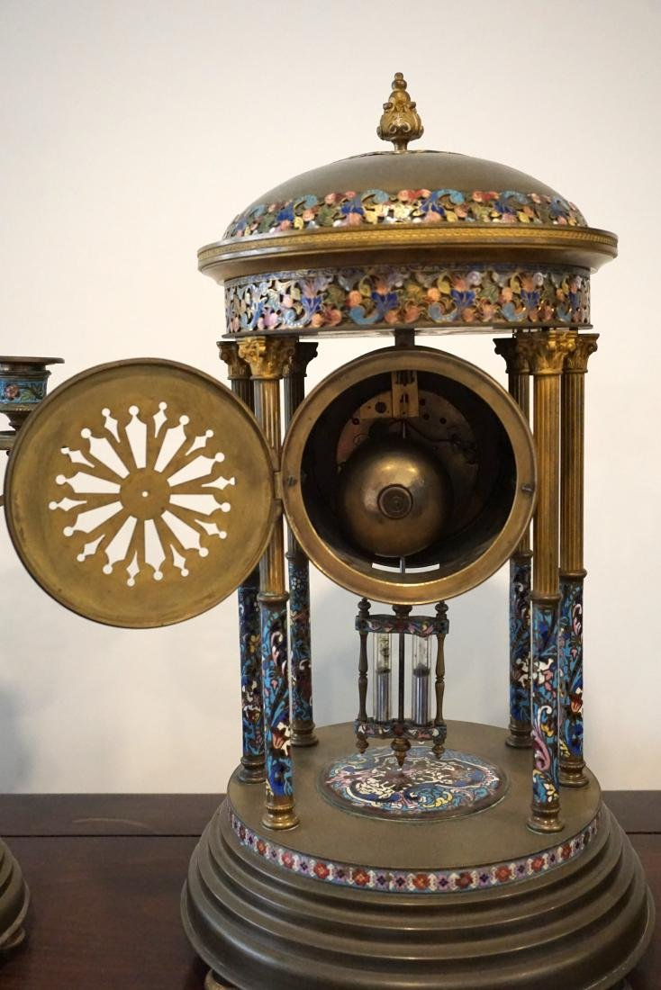 A LargeFrench Cloisonné Clock with Two Candle Holders - 9
