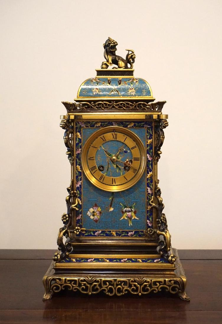 19th Century French Gil-Brass and Enamel Mantel Clock