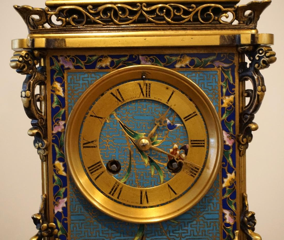 19th Century French Gil-Brass and Enamel Mantel Clock - 2