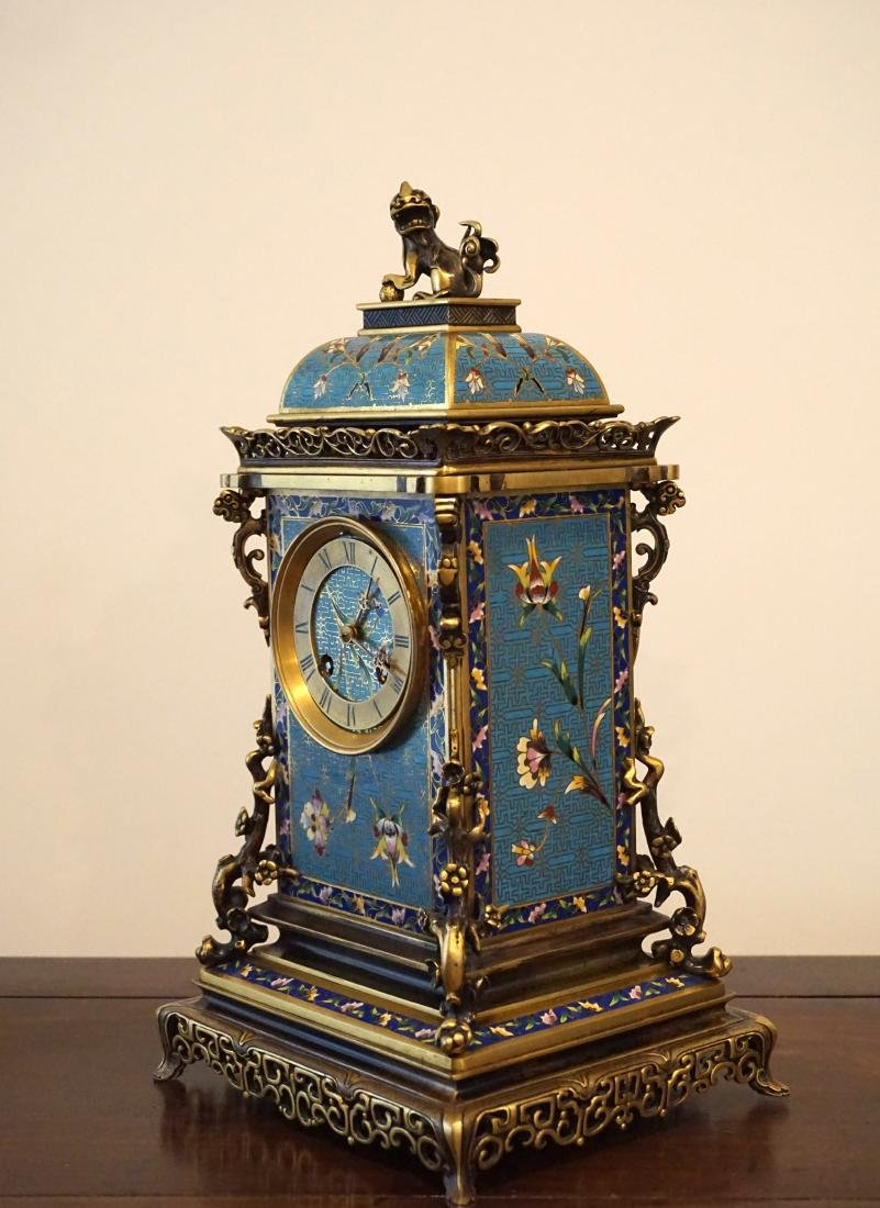 19th Century French Gil-Brass and Enamel Mantel Clock - 3