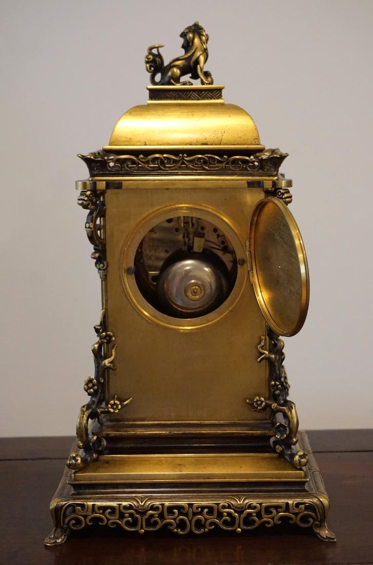 19th Century French Gil-Brass and Enamel Mantel Clock - 4