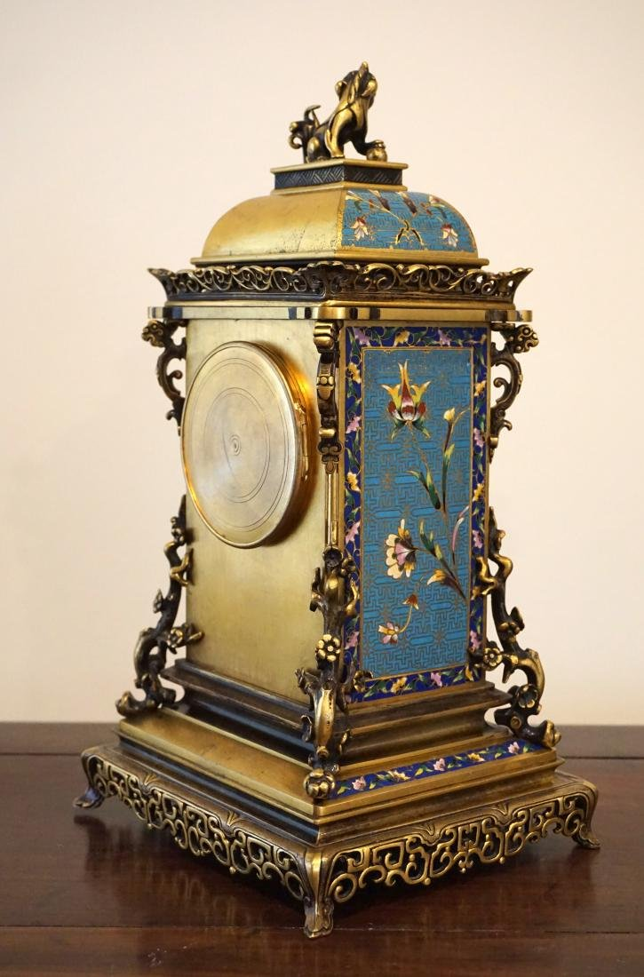 19th Century French Gil-Brass and Enamel Mantel Clock - 6