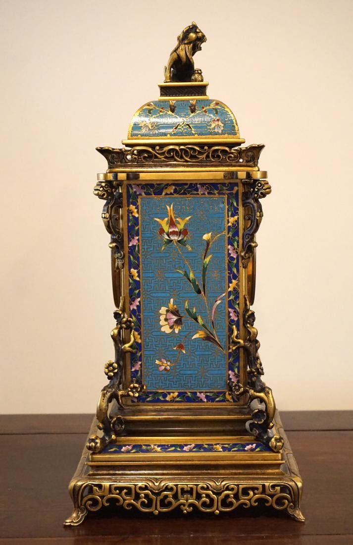 19th Century French Gil-Brass and Enamel Mantel Clock - 7