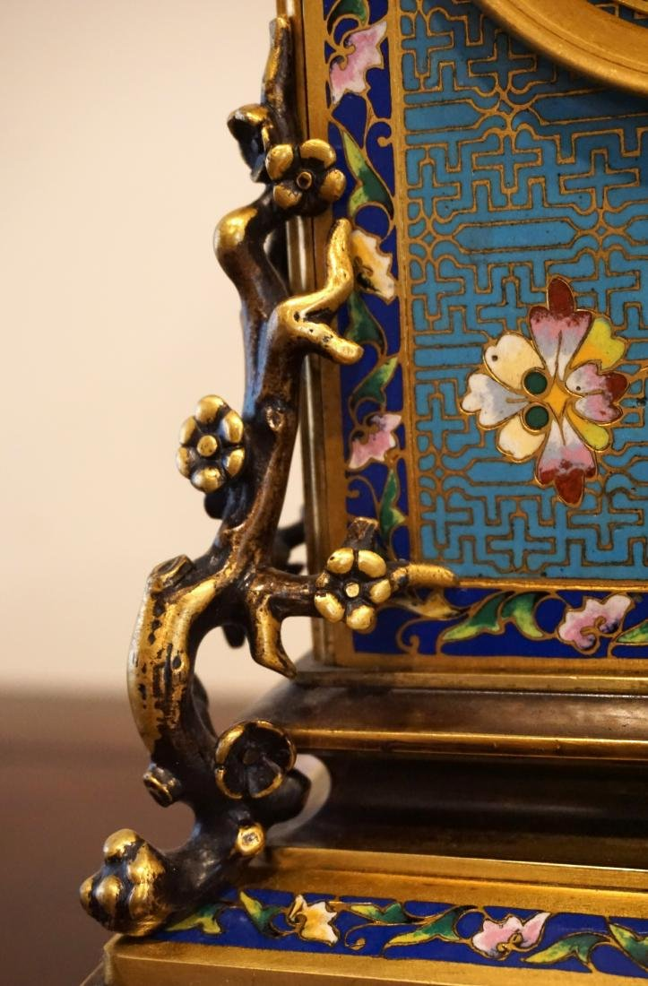 19th Century French Gil-Brass and Enamel Mantel Clock - 9