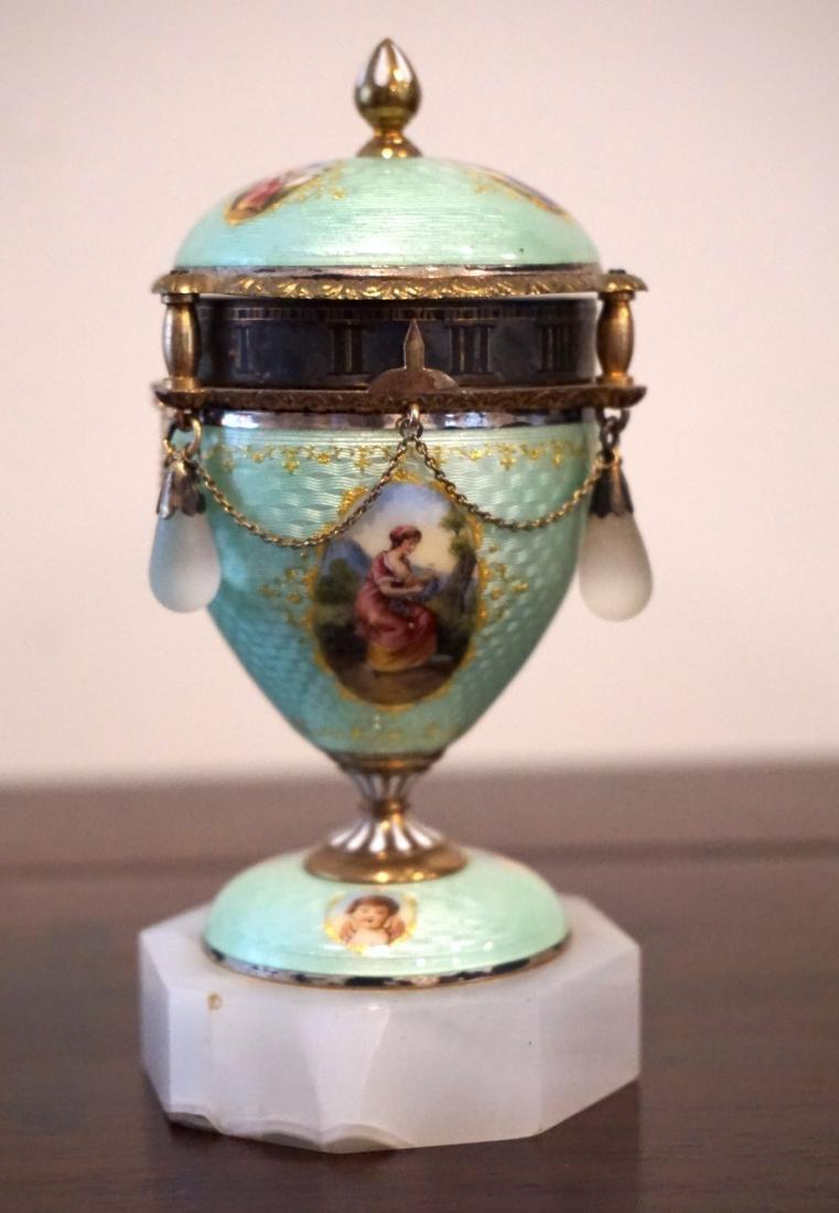Gilt Enamel Viennese Annular Mini Clock
