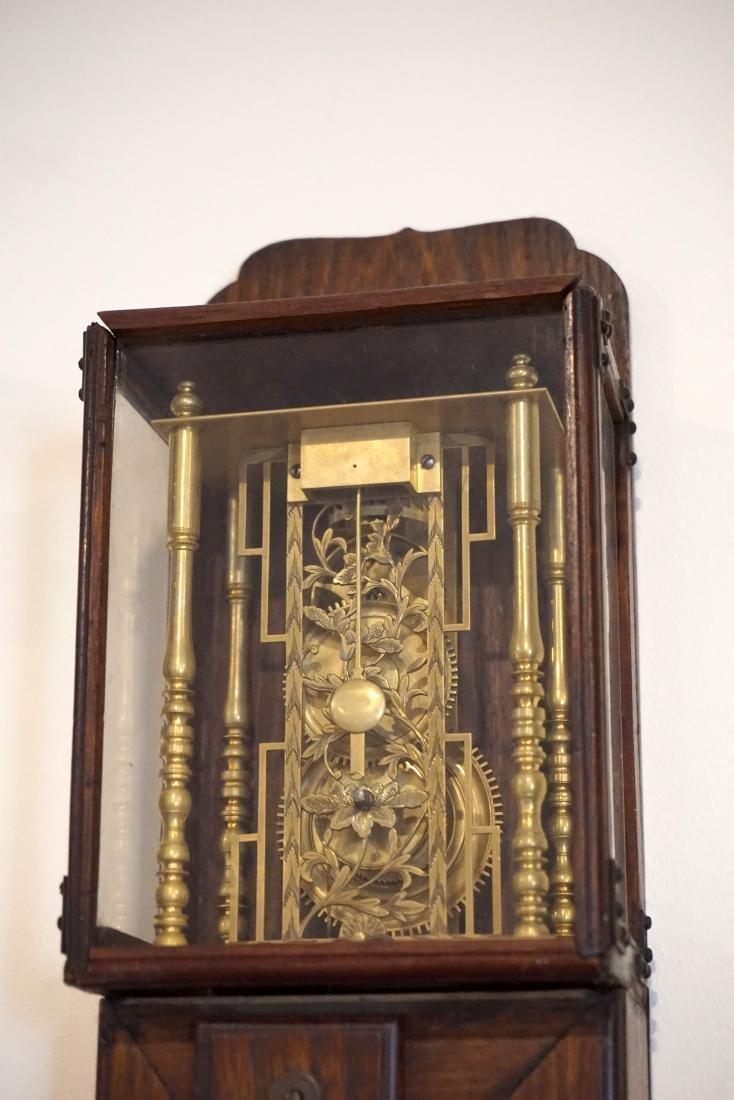 A Large Japanese Hardwood Striking Pillar Clock - 4