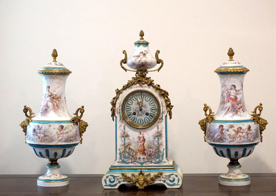 Gilt-Bronze Mounted Severs Style Clock Set with Two