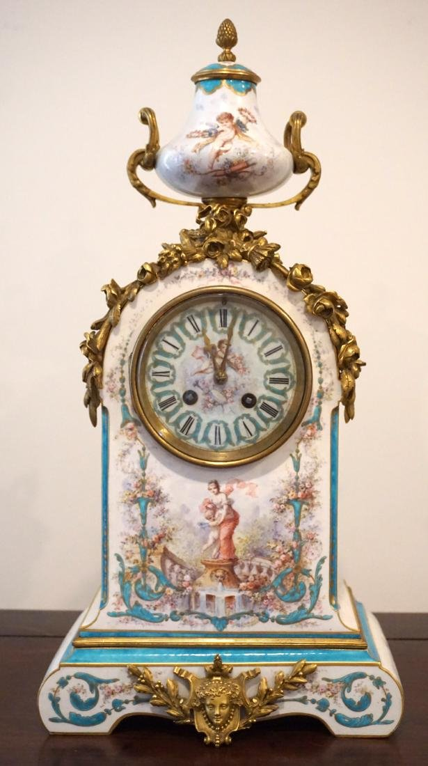 Gilt-Bronze Mounted Severs Style Clock Set with Two - 3