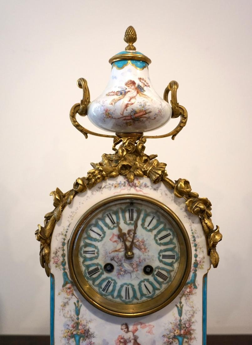 Gilt-Bronze Mounted Severs Style Clock Set with Two - 4