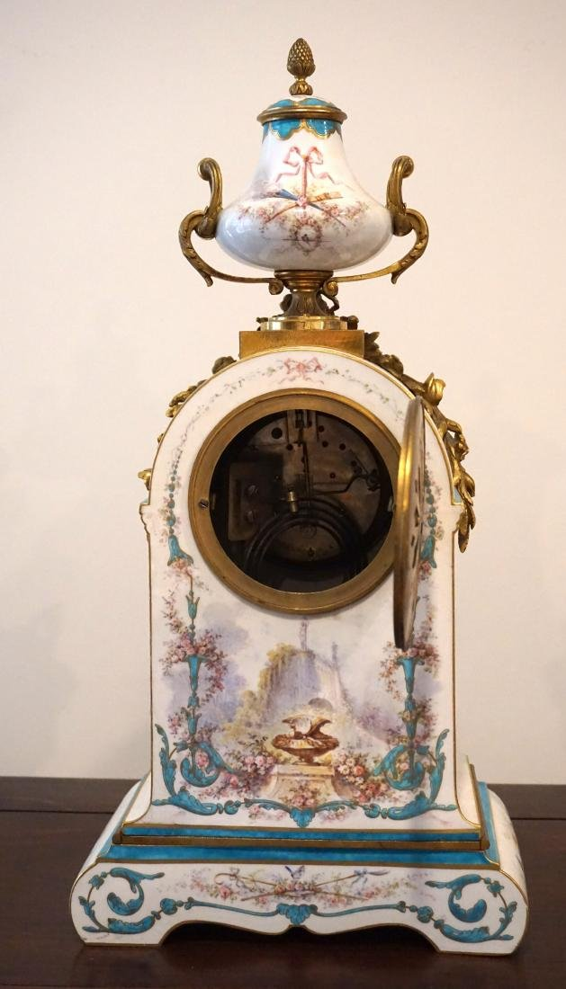 Gilt-Bronze Mounted Severs Style Clock Set with Two - 6
