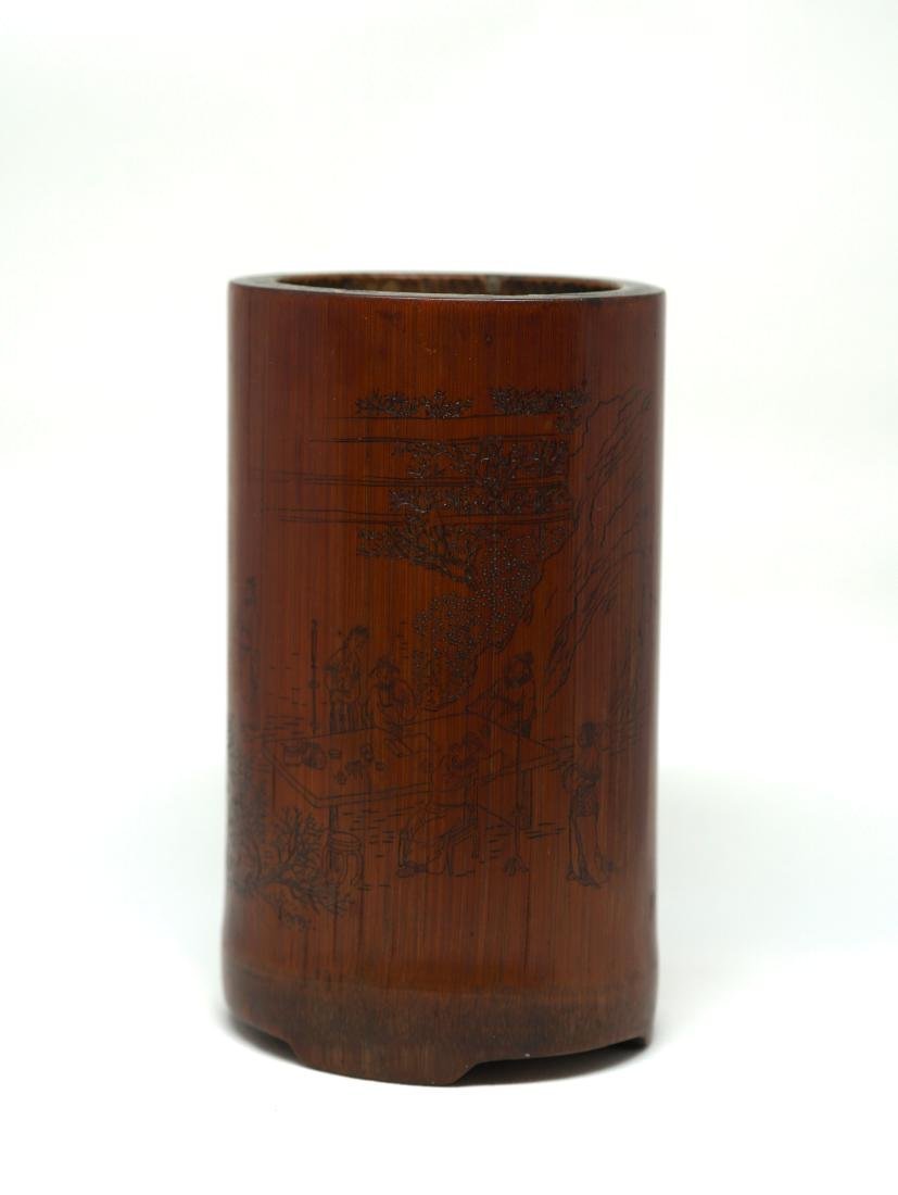An Important wood Brush Holder, carved by Master Du - 3