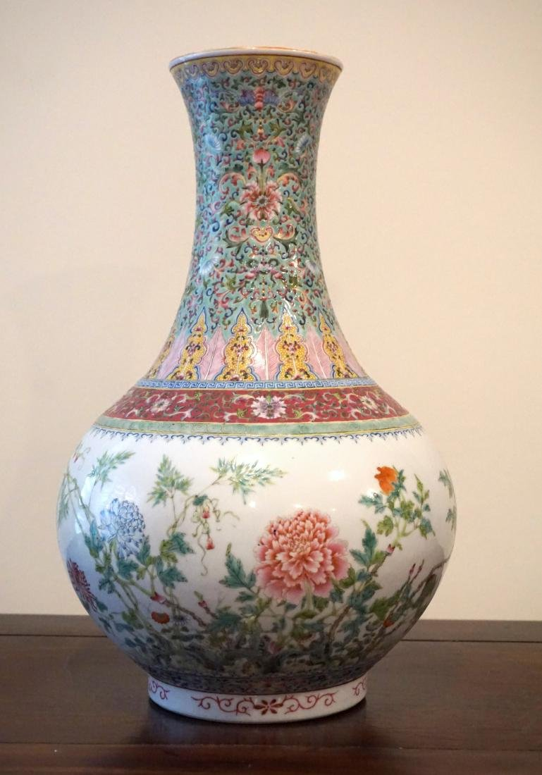 A Well-Painted Chinese Famille Rose 'Floral' Vase