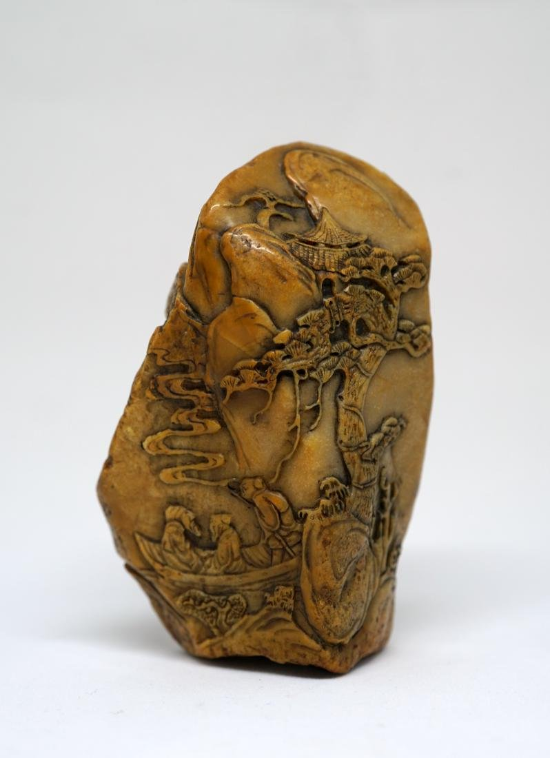 A Fine Yellow Chinese Shoushan Stone Decorative Piece
