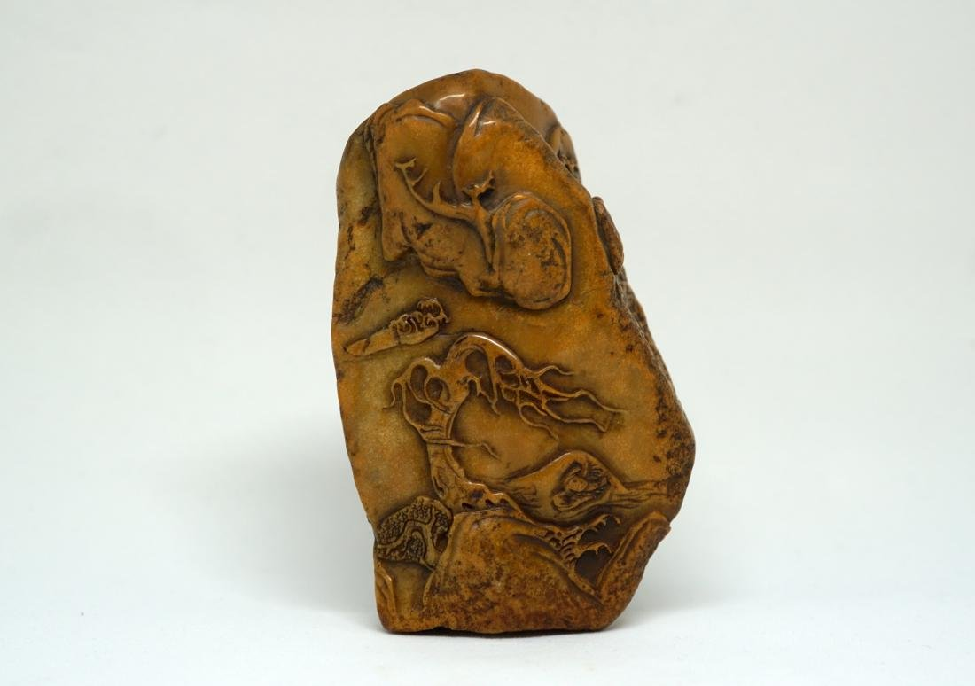 A Fine Yellow Chinese Shoushan Stone Decorative Piece - 3