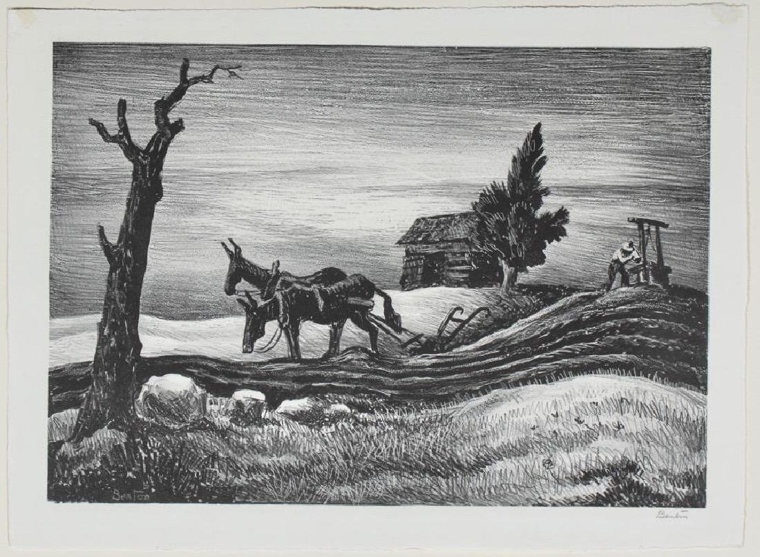 Thomas Hart Benton Lithograph, A Drink of Water
