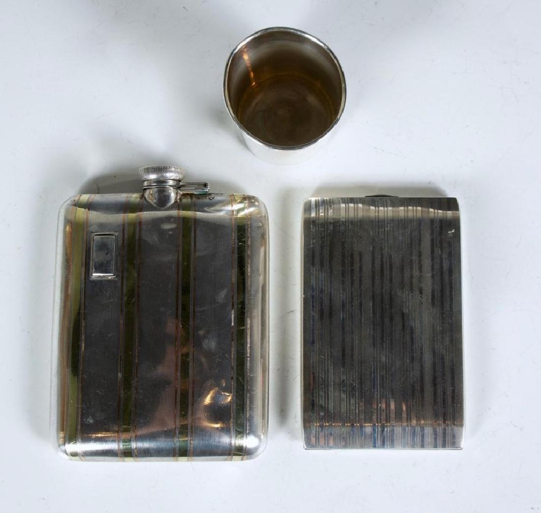 Sterling Silver Flask, Jigger and Cigarette Case