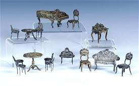 Group of Miniature Silver Furniture