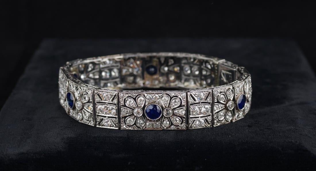 Diamond and Sapphire Art Deco Bracelet