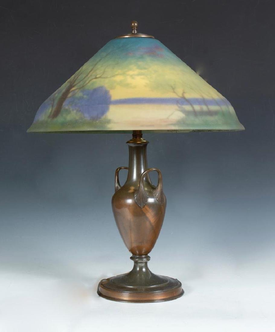Pairpoint Reverse Painted Table Lamp, Signed G.Morley