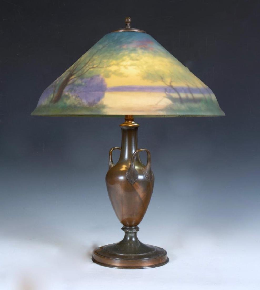 Pairpoint Reverse Painted Table Lamp, Signed G.Morley - 2