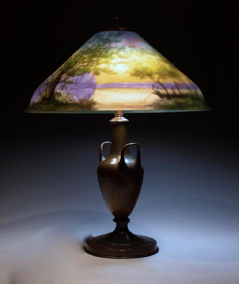 Pairpoint Reverse Painted Table Lamp, Signed G.Morley - 3