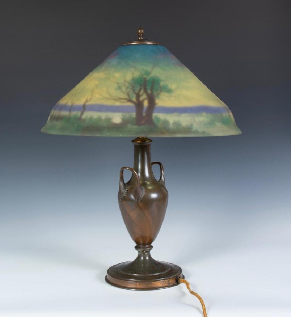 Pairpoint Reverse Painted Table Lamp, Signed G.Morley - 4
