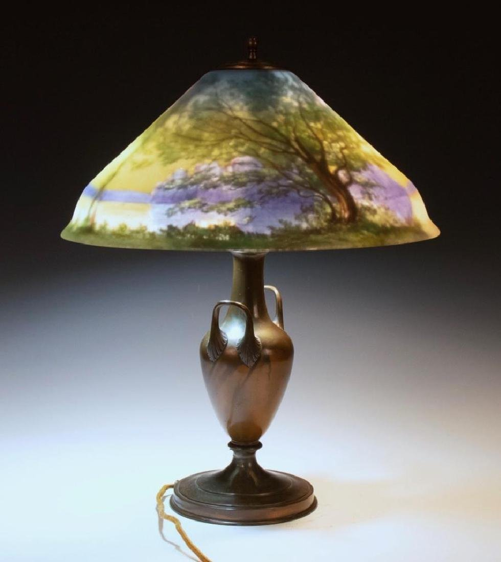 Pairpoint Reverse Painted Table Lamp, Signed G.Morley - 6