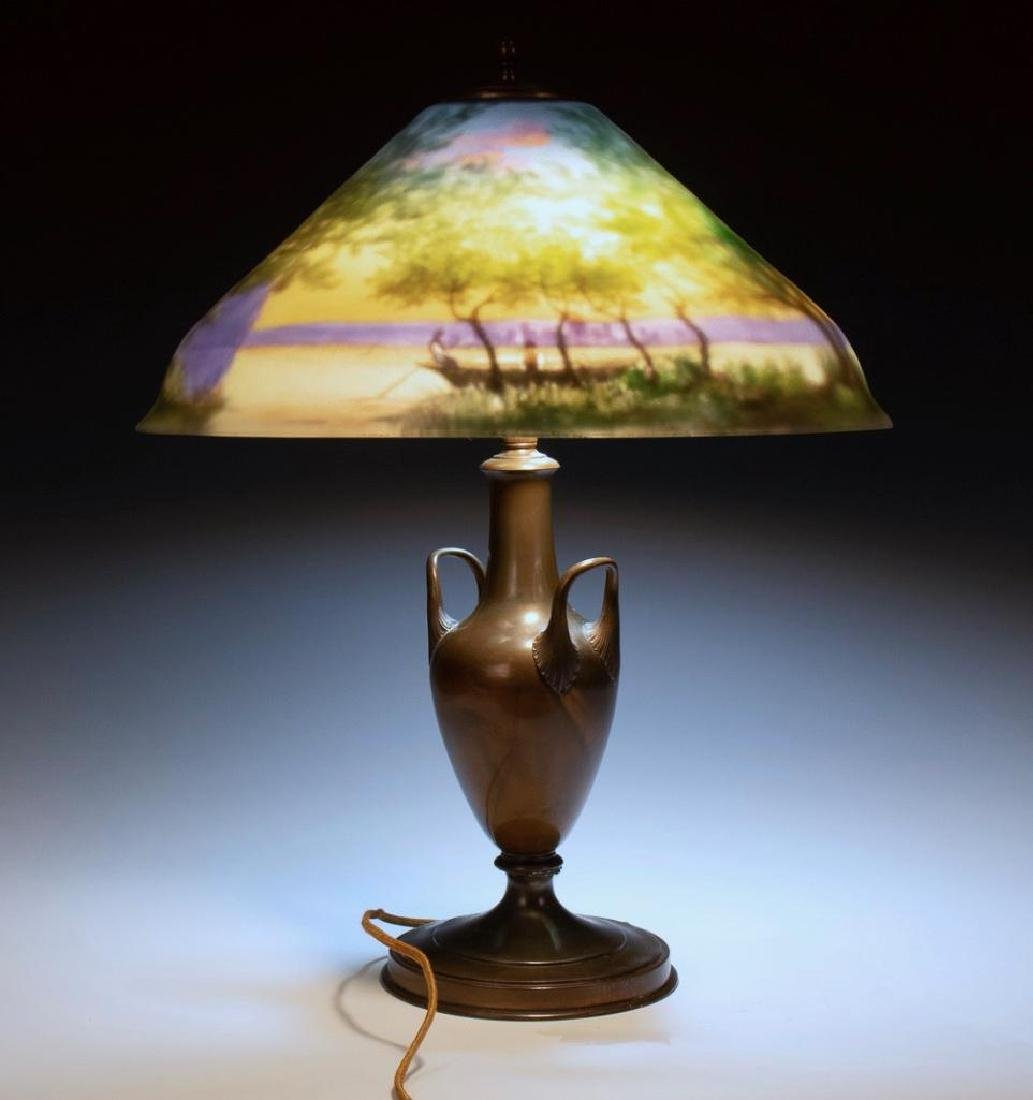Pairpoint Reverse Painted Table Lamp, Signed G.Morley - 7